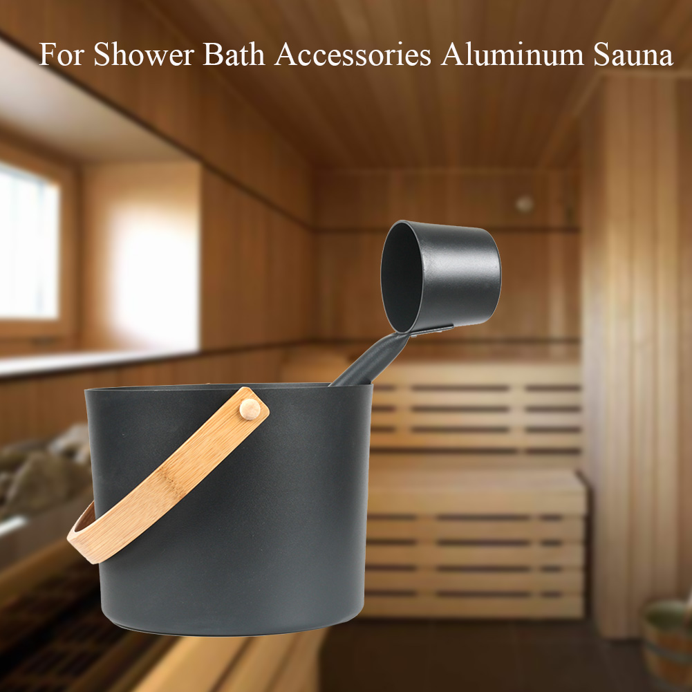 Weight Loss Supplies Aluminum Sauna Bucket Portable Family Bath Accessories For Shower Home Hotel Gift Tool Long Handle Spoon