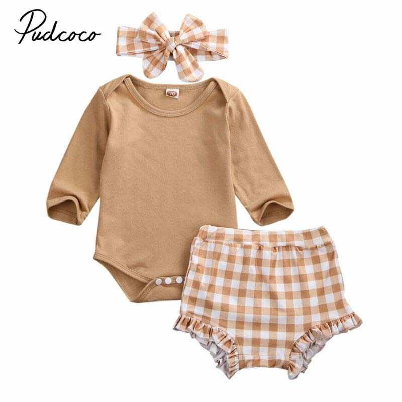 2019 Baby Spring Autumn Clothing 3PCS Newborn Infant Baby Girl Long Sleeve Tops Romper+Plaid Shorts Headband 3pcs Outfit Clothes