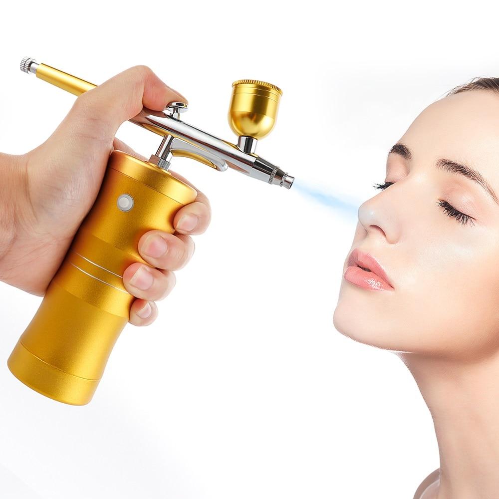 Portable Mini Airbrush Compressor Set Air Brush Sprayer Gun Hydrafacial Machine Oxygen Injector For Nail Art Painting Cake Model