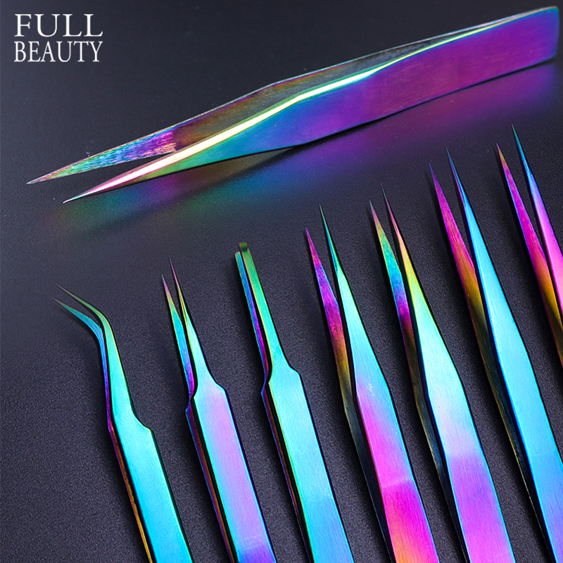 Volume Lash Tweezers Straight Curved Chameleon Nail Nipper Picker Rhinestone Eyelash Eyebrow Makeup Precision Forceps CHNB01-07