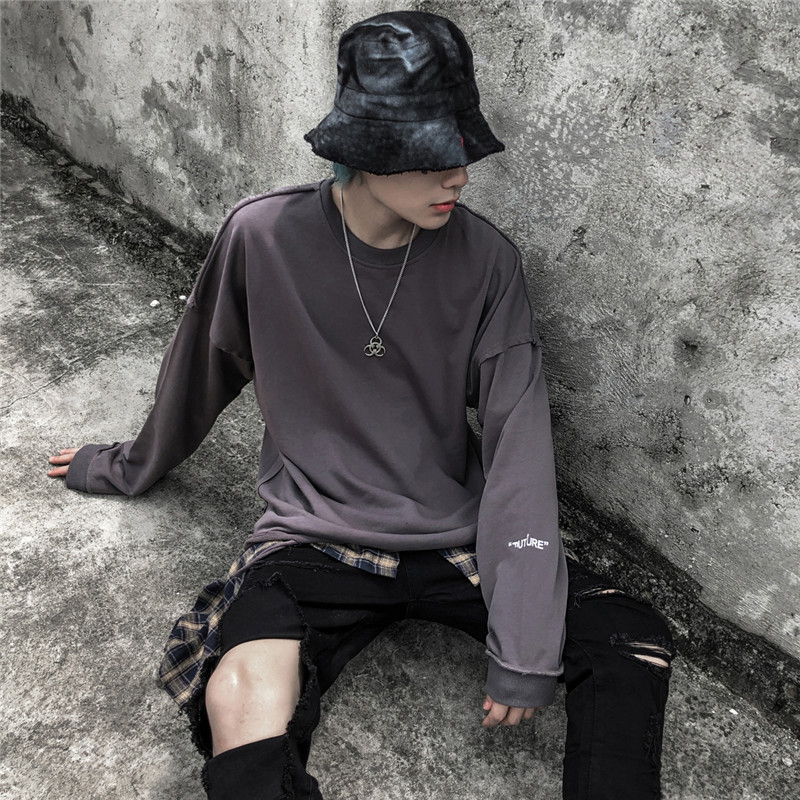 Dark Icon Solid Color Ripped Hip Hop Sweatshirt Men Destroyed Plain Sweatshirts For Men Street Sweatshirt Streetwear Clothing