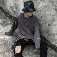 Dark Icon Solid Color Ripped Hip Hop Sweatshirt Men Destroyed Plain Sweatshirts for Street Streetwear Clothing