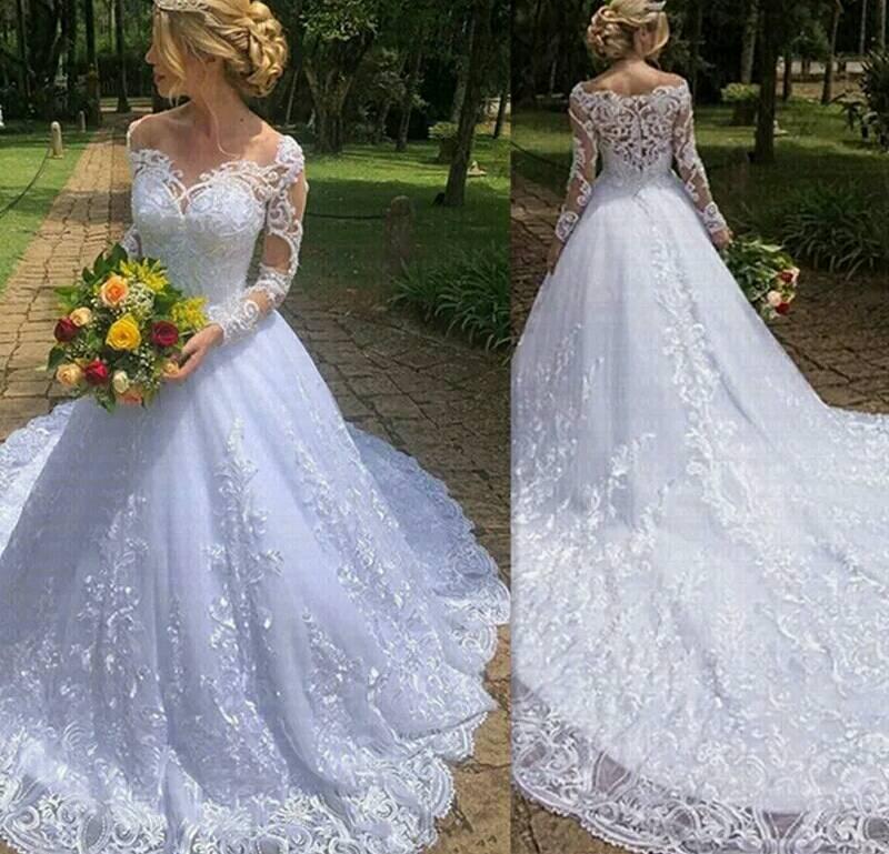 Elegant Boat Neck Wedding Dress Long Sleeves Lace Up Back Tulle Lace Applique Ball Gown Wedding Dresses Vestido De Noiva