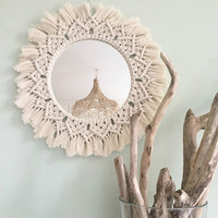 Macrame Mirror Handmade Tapestry Makeup Mirror Lighted Compact Home Bedroom Espejos Decorativos Wall Mirrors B&B Decorations