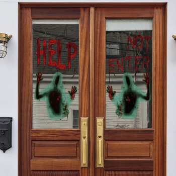 Haunted House Giant Bloody Eerie Wall Door Window Poster Halloween Party Suppliers Do Not Enter halloween Decoration image