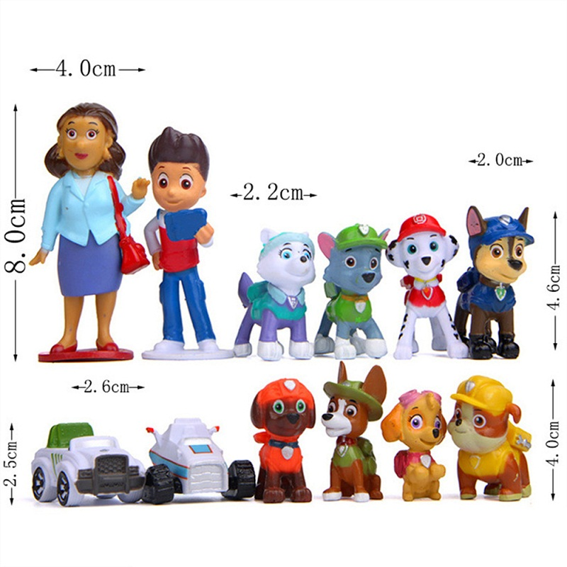 12pcs Paw Patrol Patrulla Canina 4-10cm Anime Figure Action Figures Puppy Patrol Car Toy Patroling Canine Toys For Children Toy