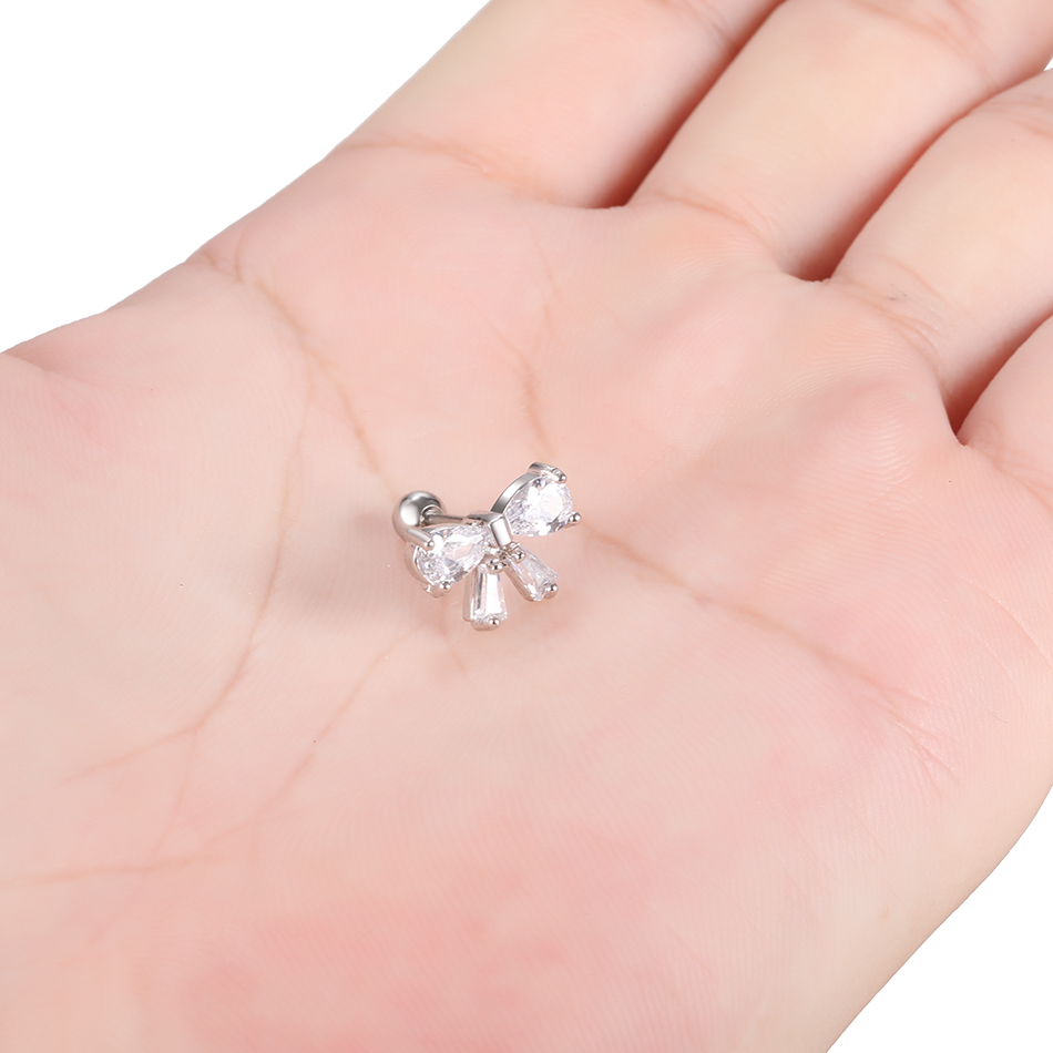 1PC Rose Gold CZ Cartilage Stud Helix Earring Piercings Crystal Rook Tragus Conch Earring Stud Piercings Sexy Women Jewelry 16G
