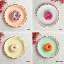 8 шт. бумажный лоток круглые золотые фольги вечерние принадлежности одноразовые торт посуда для детей для именинного пирога блюдо для закусок