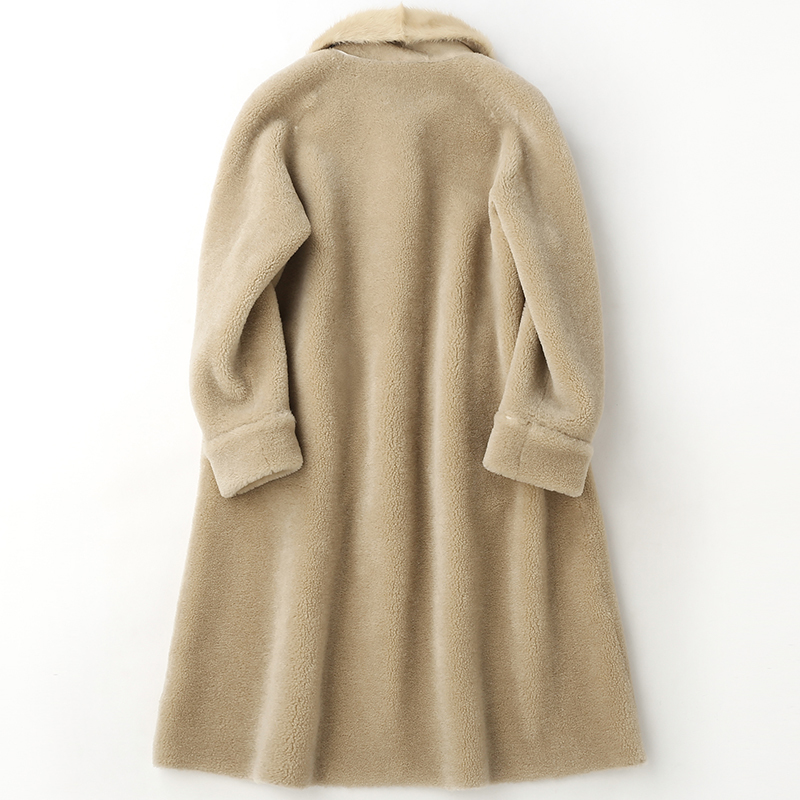 High Quality Real Wool Fur Coat And Jacket Women Natural Water Mink Fur Collar Trench Coat Abrigos Mujer Invierno