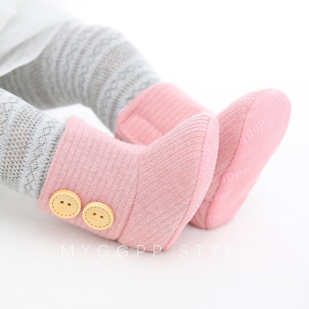 Baby Girls Soft Sole Crib Bouton Coton Flats Warm Boot Toddler prewalke Chaussures