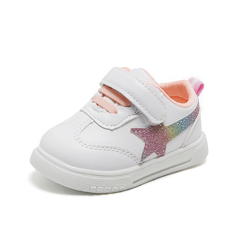 Flying Star Hook & Loop Girls Baby Shoes White Infanttie Toddler Sneaker Boys Casual Kids Fashion First Walkers Newborn Mixcolor