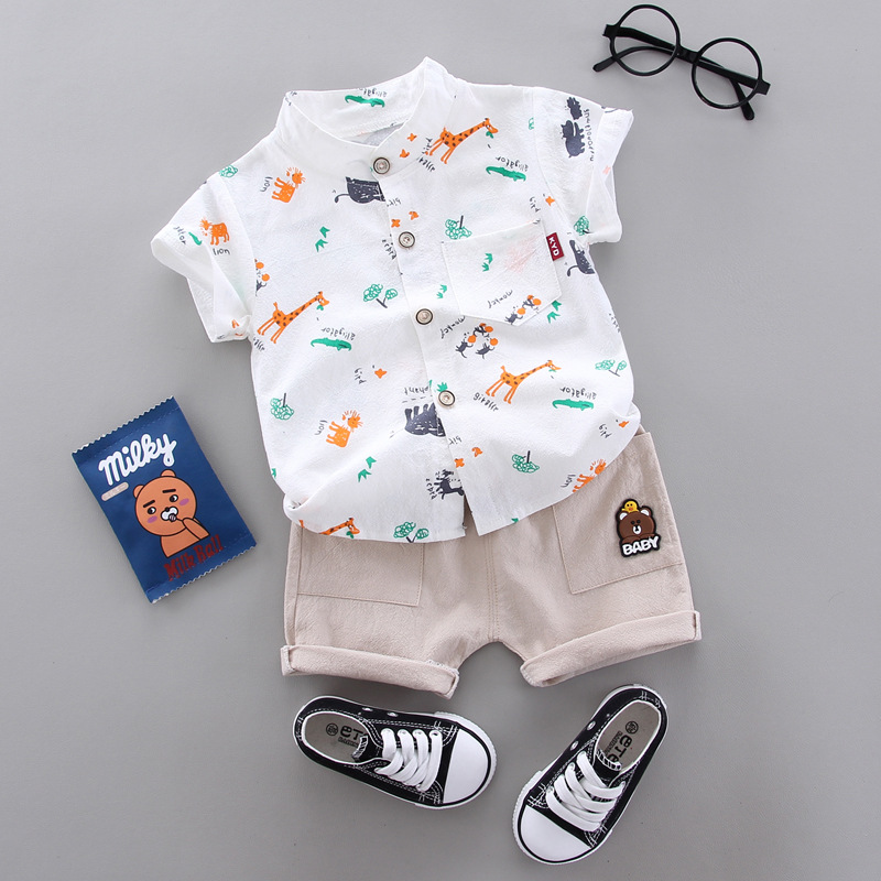 Baby Boy Clothing For Summer Infant Children Summer Soft Shirt + Shorts Child Costume 1 2 3 4 Years Kids Clothes Animal Print