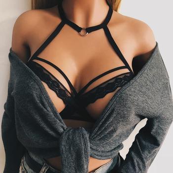 Kobiety bandaż biustonosz biustonosz elastyczny uprząż koronkowa bielizna Sexy Hot erotyczne ażurowe gorset bielizna otwórz puchar Push Up biustonosz Drop Shipping tanie i dobre opinie Poliester spandex CN (pochodzenie) Drut bezpłatne Egzotyczne odzież Pełne szklanki WOMEN Bez podszewki Bez pleców Underwear