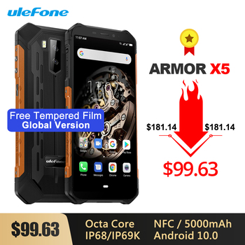 Купить Ulefone Armor X5 смартфон с 5,5-дюймовым дисплеем, восьмиядерным процессором Android 10,0, ОЗУ 3 ГБ, ПЗУ 32 Гб