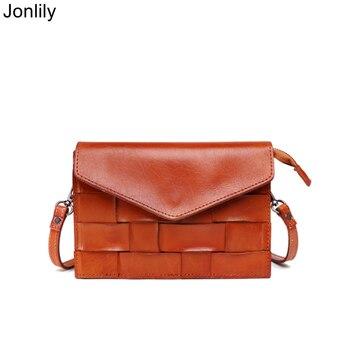 Jonlily Women Genuine Leather Retro Shoulderbag Female Fashion Small Messenger Crossbody Bag Teens Casual Daybag Purse -KG283