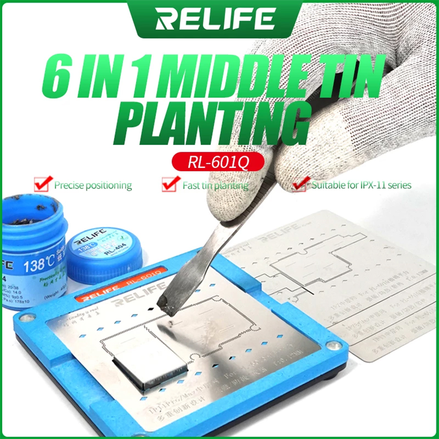 Sunshine SS-601Q 6 IN 1 Planting Tin Template Fixture for iPhone X-11Pro MAX Motherboard Middle Frame BGA Reballing Stencil Tool 1