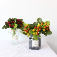 Fake Bayberry Fruit Bean Branch Flowers For Christmas Artificial Plant Berry Flowers Wedding Home Room Decor(China)