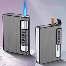 10 шт. автоматическая газовая зажигалка турбо-фонарь, зажигалка, чехол для сигарет, коробка, емкость для сигарет, может крепиться зажигалка, м...