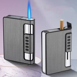 10 sztuk automatyczna zapalniczka gazowa Turbo zapalniczka papierośnica Box pojemność papierosów może zamontować lżejsze metalowe dla mężczyzn palenia