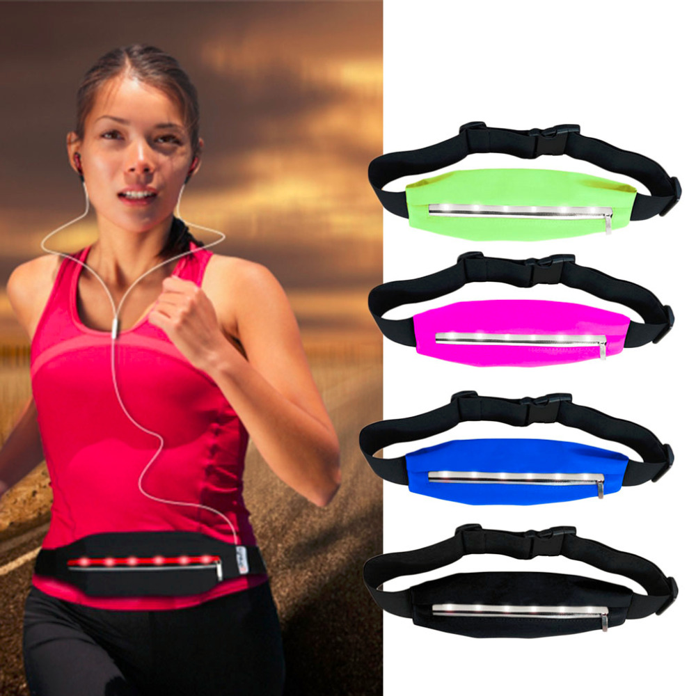 NEW Sports Running Waist Bags Pack Pocket Belt With LED Lights Adjustable Safety Waist Bag