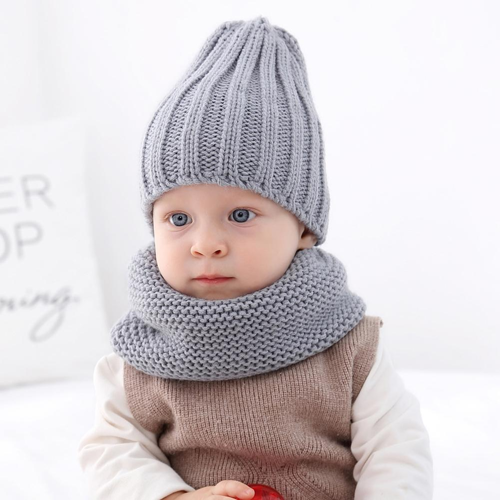Hot Lovely Baby Kids Boy Girl Yarn Knitted Winter Warm Beanie Cap Hat Scarf Set