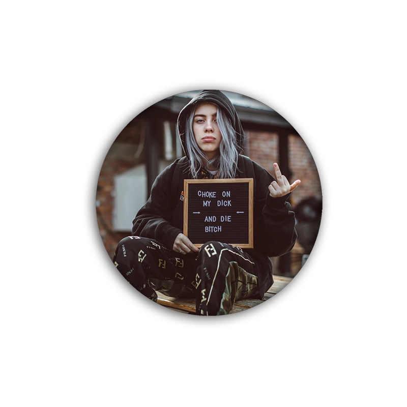 3D Stampa Hip-Hop Cantante Billie Eilish Distintivi E Simboli Spille Abbigliamento Fai da Te Risvolto Spille Decorazione Spille Zaino Icona Accessori Cool