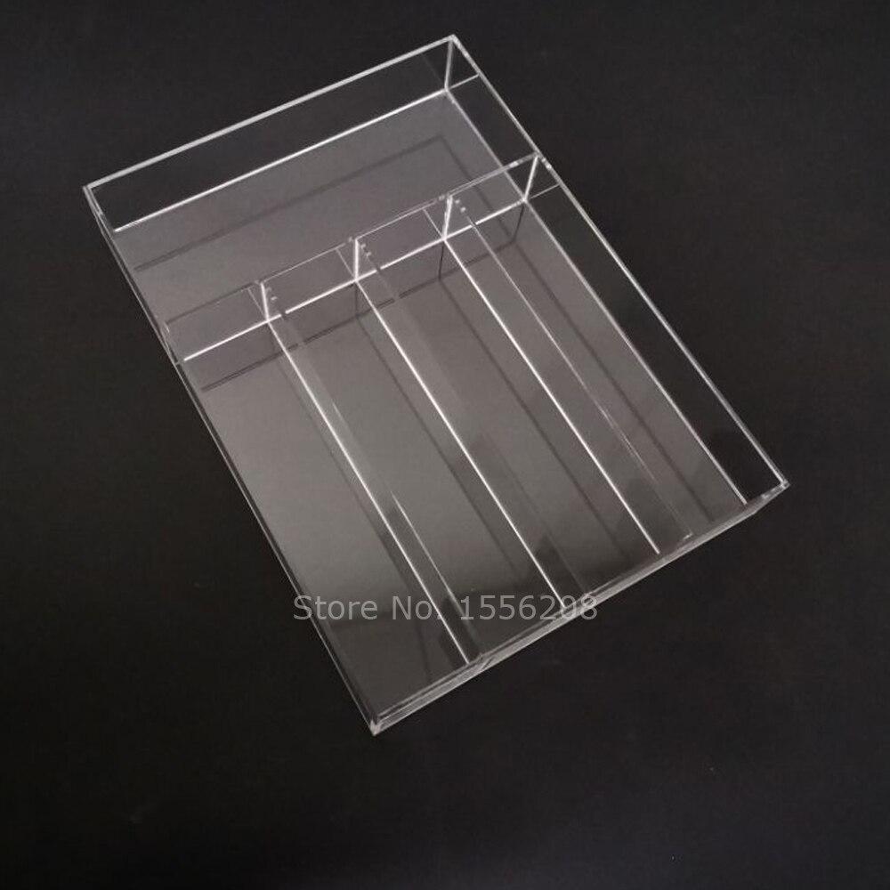 Porte-couverts de bureau en plexiglas | Couverts en acrylique, plateau à couverts 5 compartiments, fourchettes cuillères couteaux support de rangement d'ustensiles, organisateur de bureau en plexiglas, plateau de service - 2