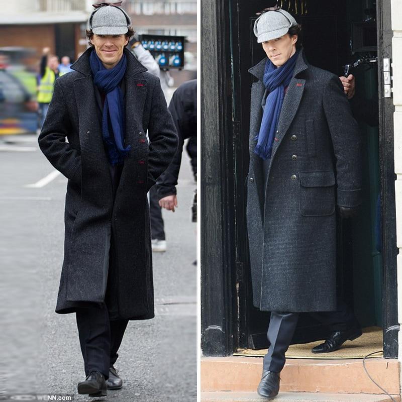 Plus size M-9XL Fashion Retro Plaid Long Black Trench Coat Men Fashion Pocket Decoration Double-breasted mens wool winter coats