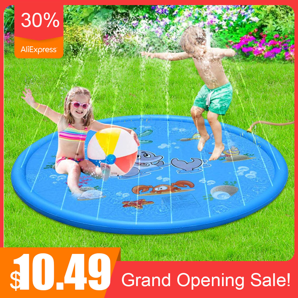 New 100cm Summer Kids Inflatable Round Water Splash Play Pool Playing Sprinkler Mat Yard Outdoor Indoor Fun Multicolour PVC Toys