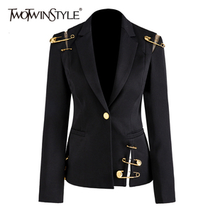 TWOTWINSTYLE Hollow Out Patchwork Lace Up Women's Blazer Notched Long Sleeve Slim Elegant Female Suit 2020 Autumn Fashion New