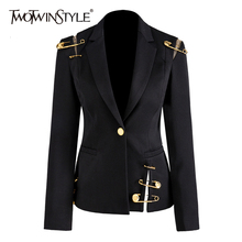 TWOTWINSTYLE Hollow Out Patchwork Lace Up Women's Blazer Notched Long Sleeve Sli