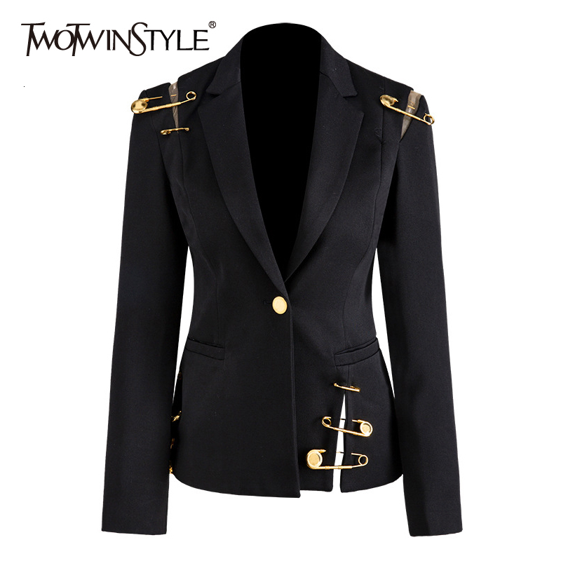 TWOTWINSTYLE Loose Fit Black Hollow Out Pin Spliced Jacket Blazer New Lapel Long Sleeve Women Coat Fashion Tide Autumn Winter