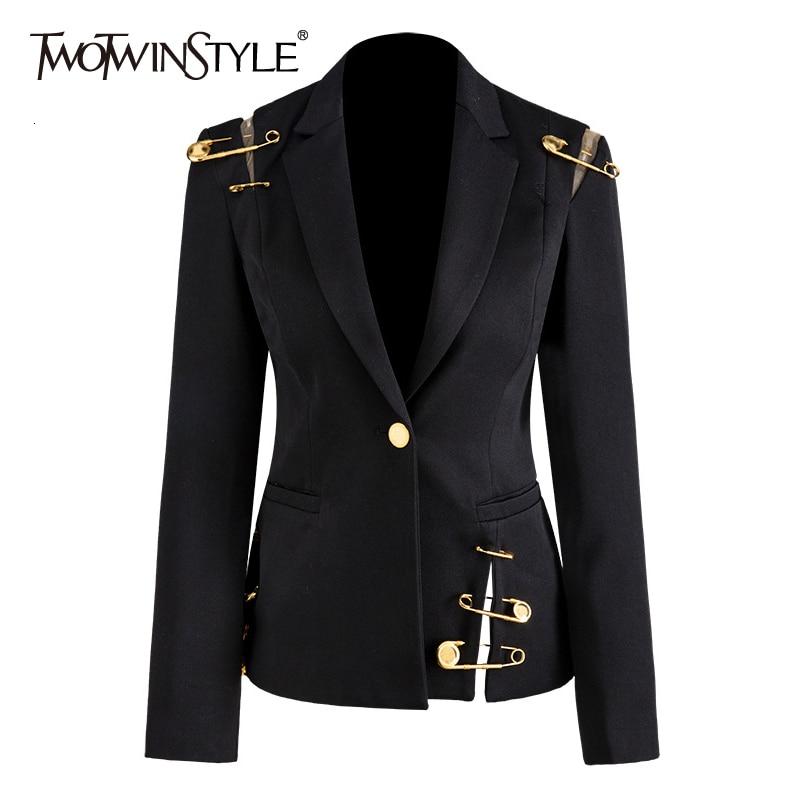 TWOTWINSTYLE Loose Fit Black Hollow Out Pin Spliced Jacket Blazer New Lapel Long Sleeve Women Coat Fashion Tide Autumn Winter