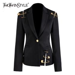 Twotwinstyle Loose Fit Black Hollow Out Pin Spliced Jacket Blazer Nieuwe Revers Lange Mouwen Vrouwen Jas Mode Tij Herfst Winter