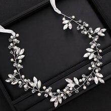 Модная серебристого цвета свадебная головная повязка с кристаллами
