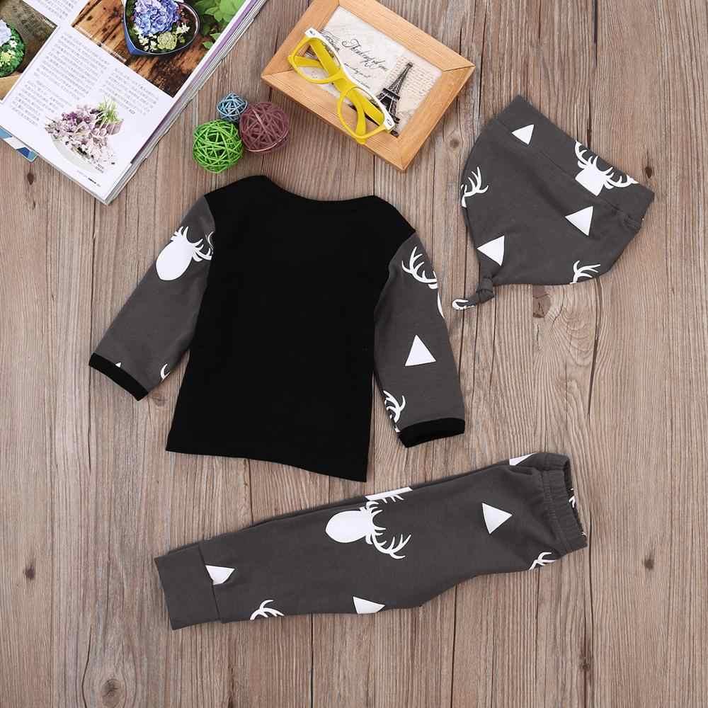 クリスマスベビー服セット鹿トップスtシャツ + パンツレギンス帽子3個新生児ボーイズガールズキッズクリスマス衣装セット