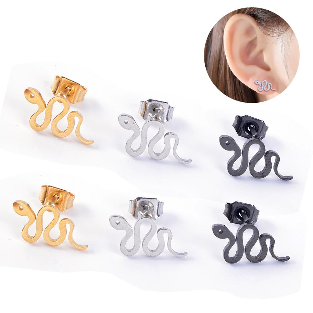1Pair Punk Metal Small Snake Animal Earrings For Women Simple Stainless Steel Stud Earring Party Fashion Jewelry E321