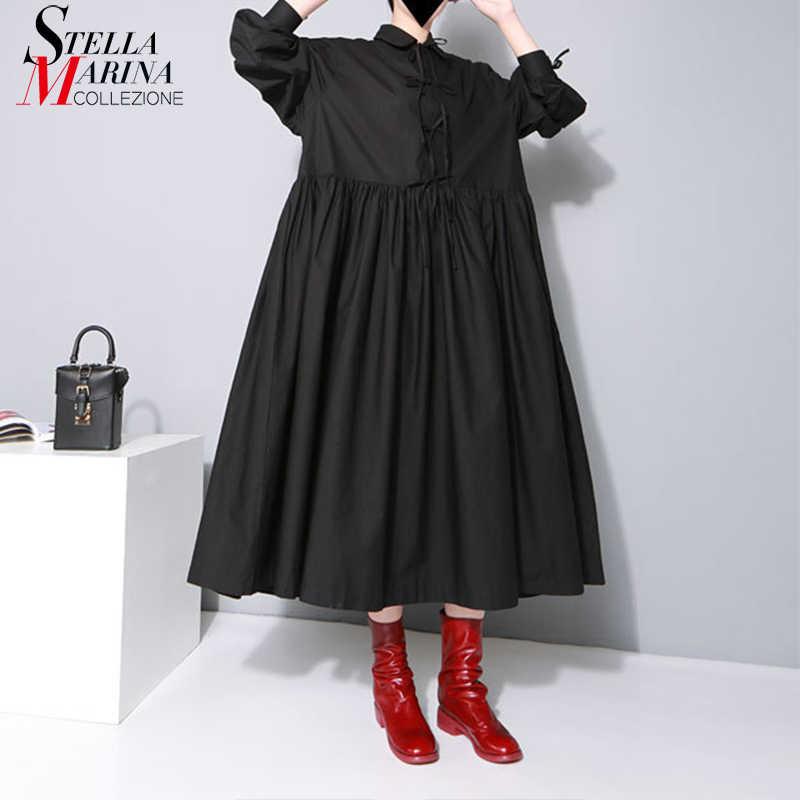 Новинка 2019, корейское женское однотонное Черное длинное платье макси размера плюс, стандартный воротник, длинный рукав, бант, хлопок, свободная рубашка, платье 1748