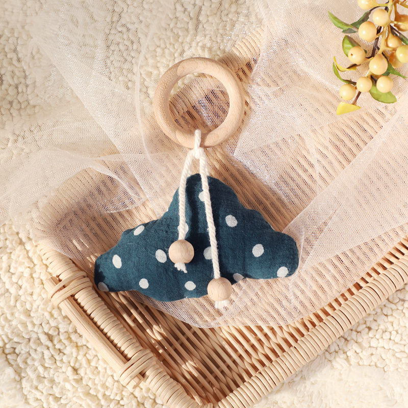 Baby Wooden Rattle Cotton Filling Infant Bed Bell Children's Room Decoration Toys Cloud Hanging Play Gym Soft Baby Wooden Rattle | Happy Baby Mama