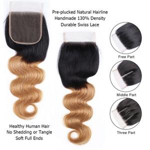 Image 3 - Bobbi Collection 1B 27 Indian Body Wave 2/3 Bundels Ombre Honey Blonde Bundels Met Sluiting 10 24 Inch Non Remy Human Hair Weave