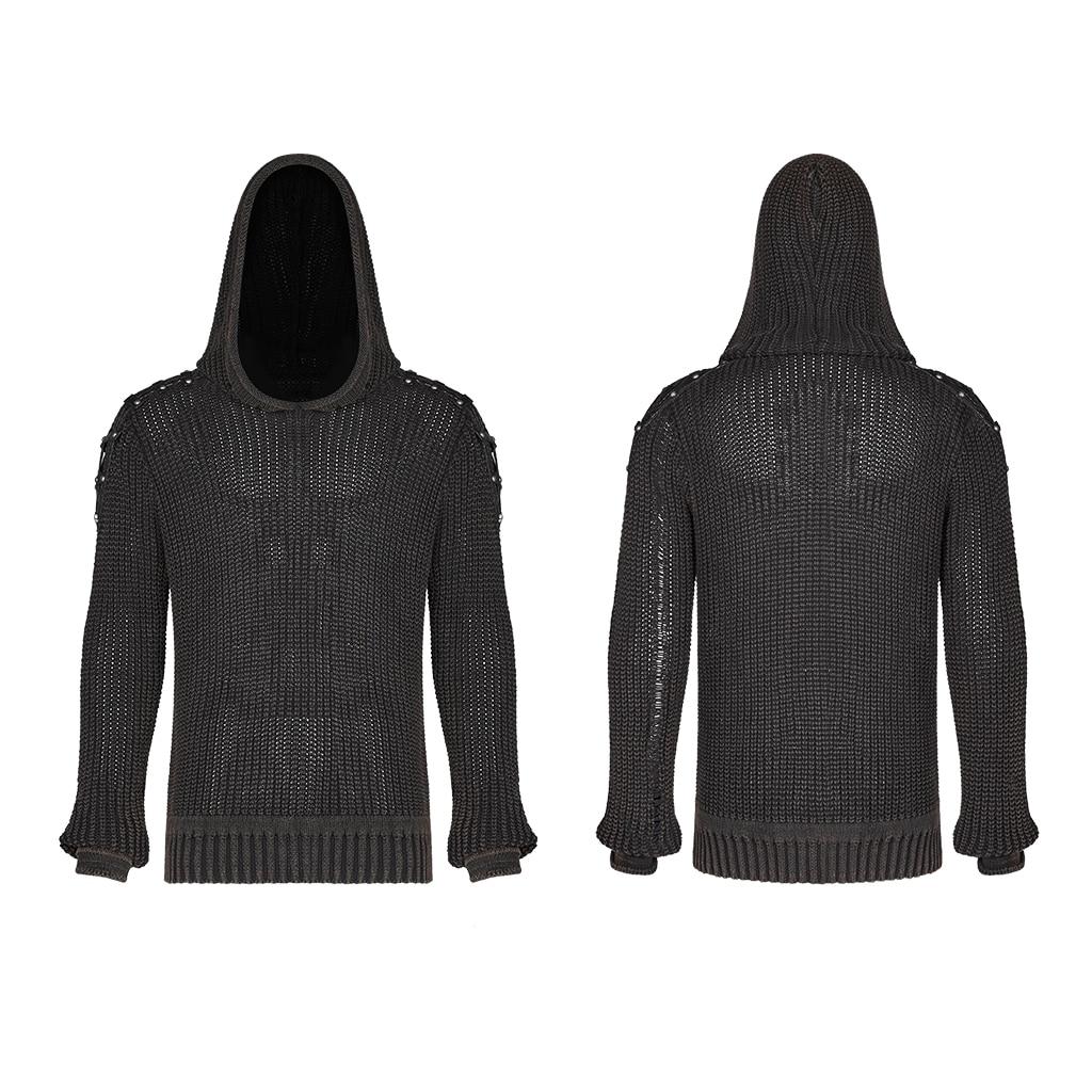 PUNK RAVE Punk Vintage con capucha negro suéter Steampunk Retro suéter Halloween hombre Casual moda oscuro Streetwear pulóvers - 5
