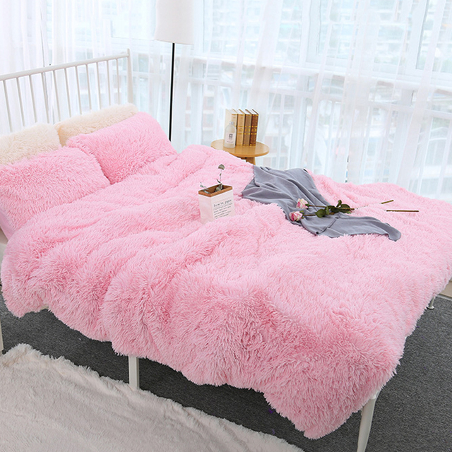 160x200CM Super Soft Shaggy Fur Double-layer Plush Blanket Fuzzy Cozy With Fluffy Sherpa Throw Blankets Bed Coral Blanket 3