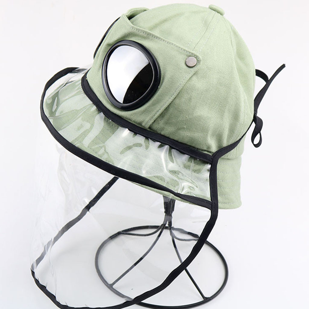Kids Dustproof Anti Spitting Protective Mask Hat Protective Transparent Mask With Removable Protection Cap #C