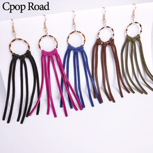 Cpop Fashion Genuine Sheep Leather Earrings for Women Gold Circle Tassel Jewelry Accessories Hot Sale Gift 2019