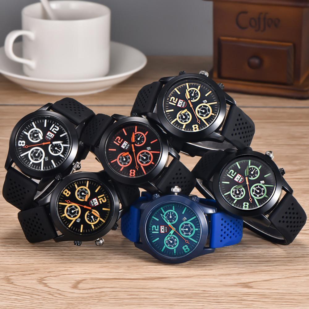 Sports Men Calendar Decorative Sub-dial Silicone Band Analog Quartz Wrist Watch Mas-culino Fashion Men's Watch Large Dial Milita