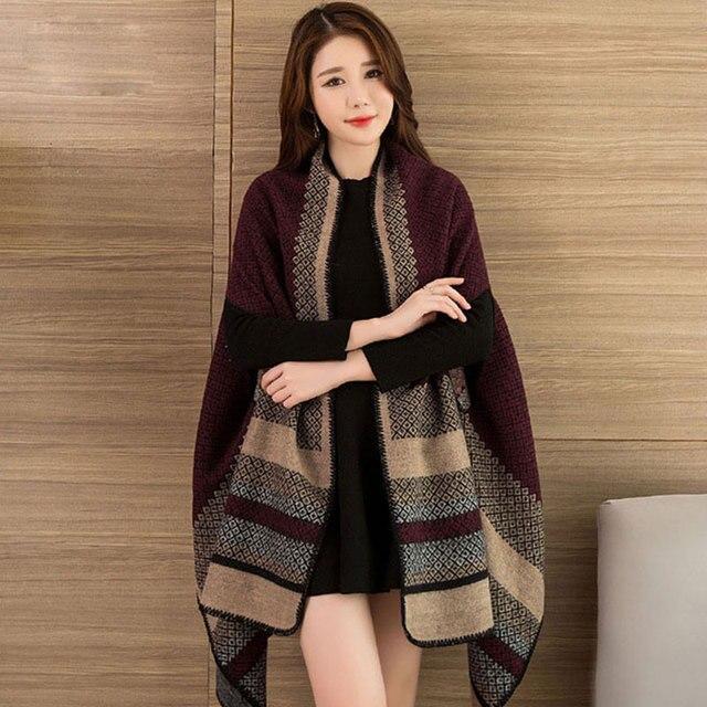New 2020 Thick Winter Women's Poncho Travel Shawls Scarves Female Cashmere Capes Cloak Bandana Hijab Foulard Femme Pashmina 2