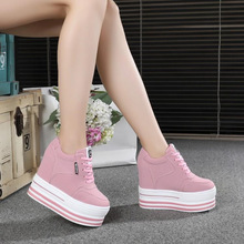 WGZNYN Super High Heels Chunky Sneakers Women Spring Thick Bottom Height Increasing Casual Shoes Woman Sneakers Zapatos De Mujer