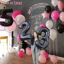 16&25 years old Black Number foil balloons