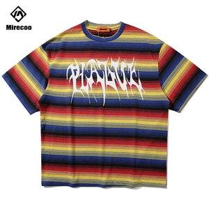 Футболки с радужным полосатым принтом в стиле хип-хоп, повседневные Модные уличные футболки с коротким рукавом, хипстерские мужские топы в ...