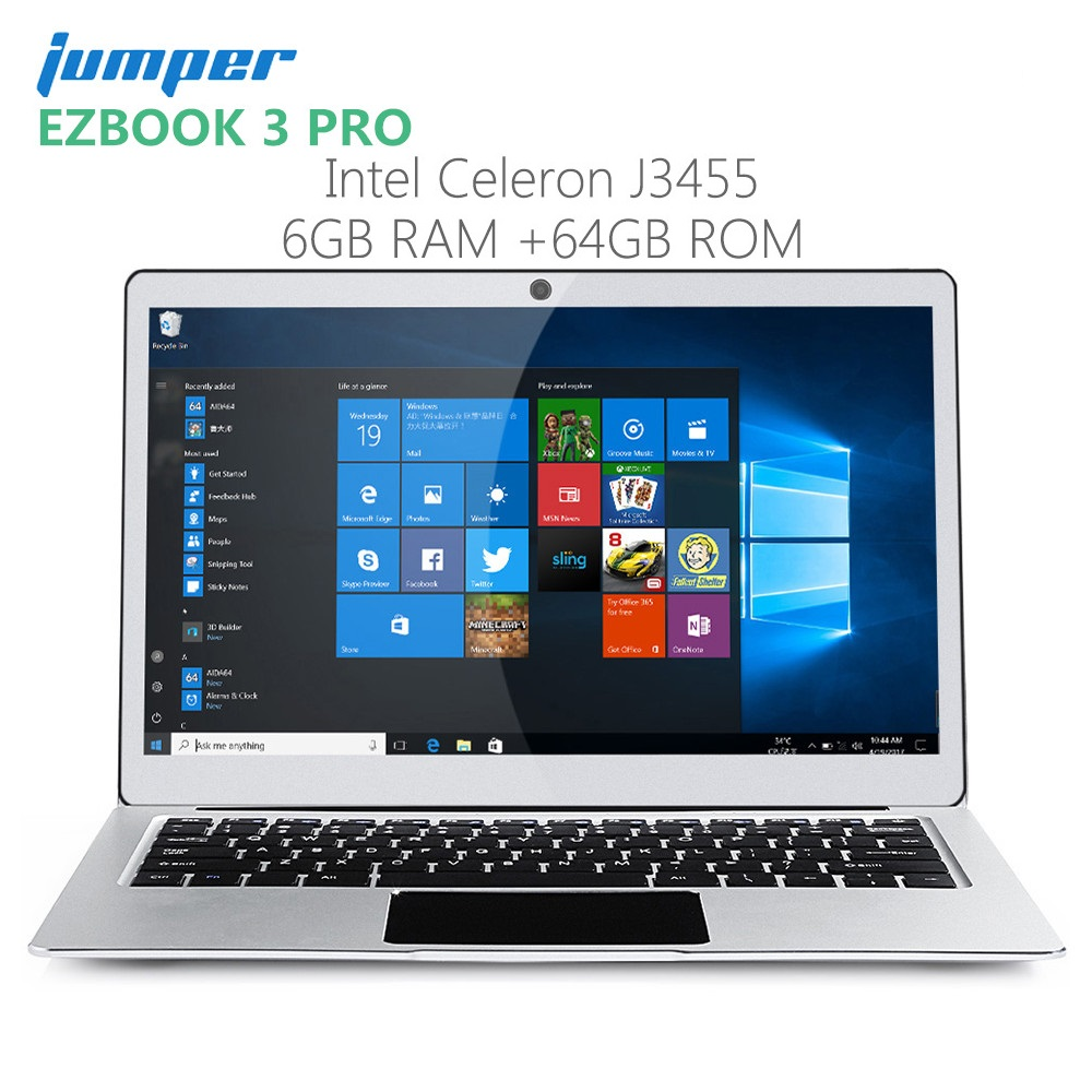 Jumper EZbook 3 Pro Notebook 13.3'' Windows10  Intel Celeron J3455 Laptop 6GB RAM 64GB  ROM Ultrabook EMMC HDMI Dual WiFi